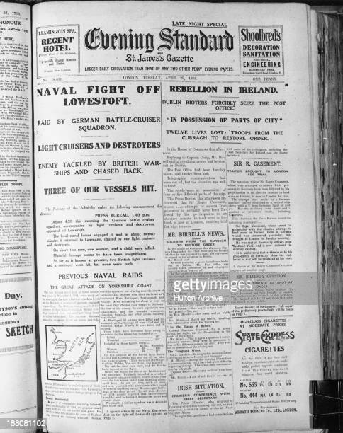 The front page of the Evening Standard newspaper, published in London on the second day of the Easter Rising in Ireland, 25th April 1916. The column...