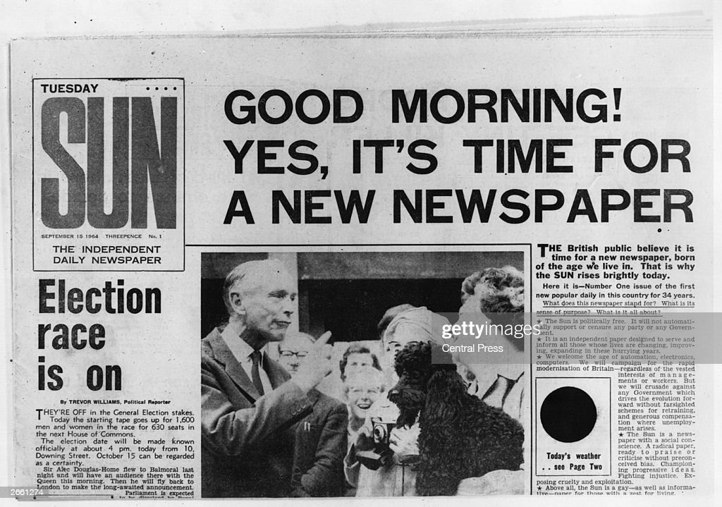The Front Page Of The First Edition Of The Sun Newspaper