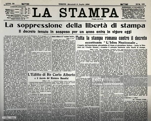 The front page of the Italian newspaper La Stampa the news of the suppression of the freedom of the press The entire roman print against the decree...