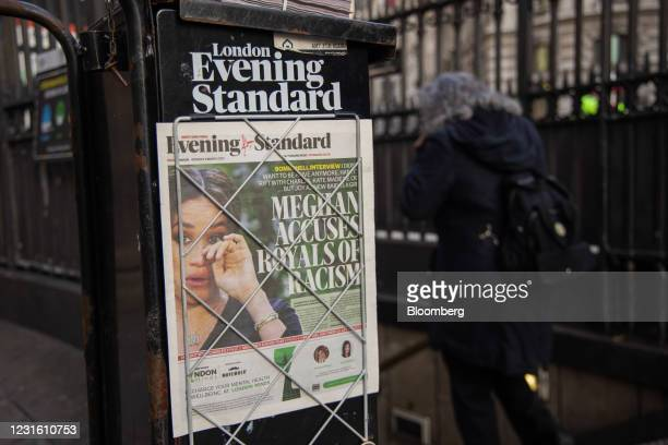 The front page of the London Evening Standard newspaper, featuring an article about Meghan Markle, outside a London Underground station in the City...