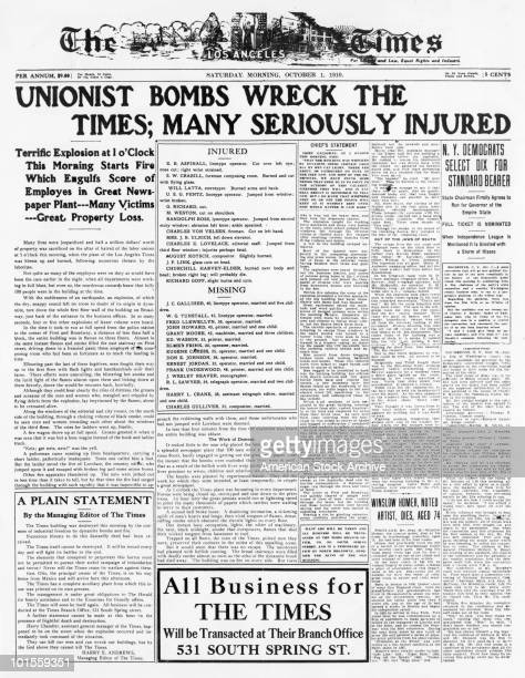 The front page of the Los Angeles Times published on the day its own offices were bombed by militant trade unionists James and John McNamara 1st...