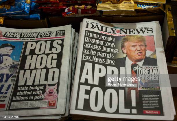 The front page of the New York Daily News carries a picture of President Donald Trump April 2, 2018 in Brooklyn, New York. President Trump threatened...