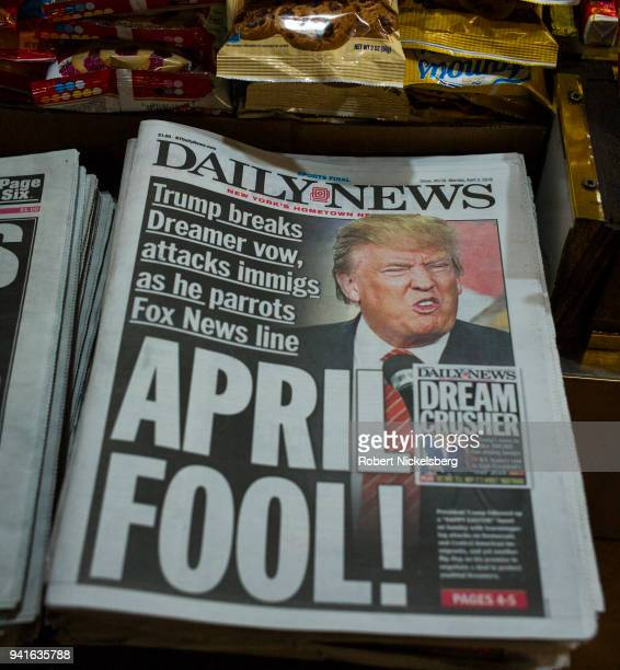 The front page of the New York Daily News carries a picture of President Donald Trump April 2 2018 in Brooklyn New York President Trump threatened to...