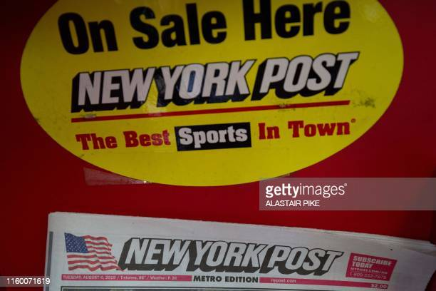 The front page of the New York Post newspaper is seen at a convenience store in Washington, DC, on August 6, 2019.