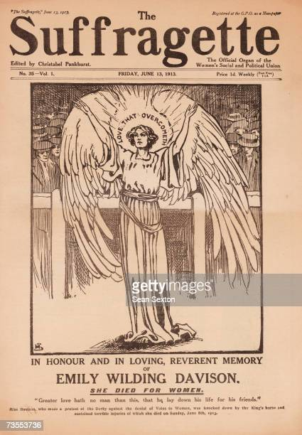 The front page of The Suffragette newspaper depicts Emily Wilding Davison who died under the hooves of the King's horse at Epsom as an angel 13th...