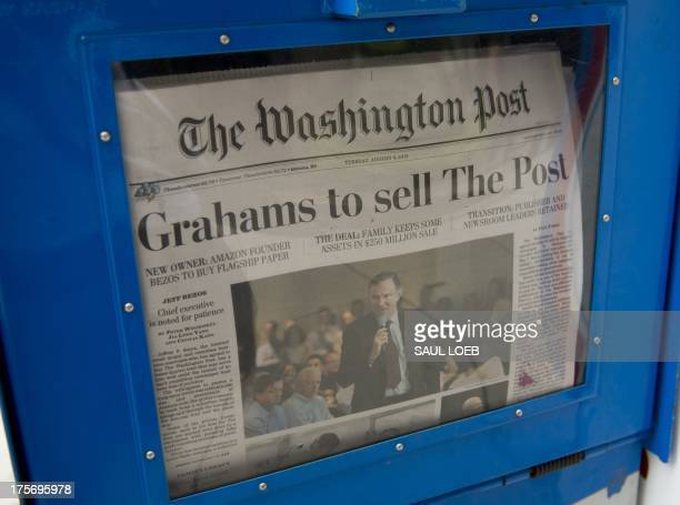 The front page of the Washington Post newspaper as seen in a newstand August 6 2013 in Washington DC the day after it was announced that Amazoncom...