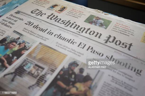 The front page of The Washington Post newspaper is seen at a convenience store in Washington, DC, on August 6, 2019.