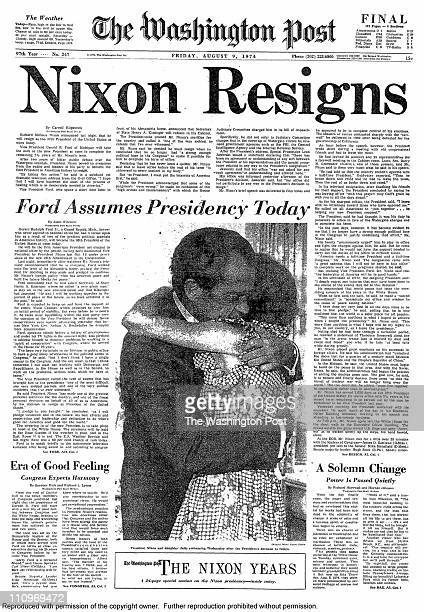The front page of the Washington Post with the Headline 'NIXON RESIGNS' on August 8 1974 in Washington DC