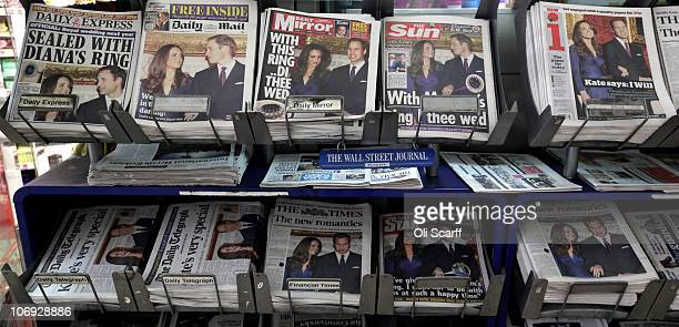 The front pages of British national newspapers are dominated by news of the engagement of Prince William and Kate Middleton on November 17, 2010 in...