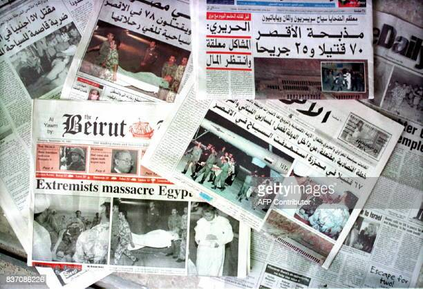 The front pages of Englishlanguage and Arabic Lebanese newspapers are consumed 18 November with news of the massacre in Luxor Egypt that left 58...