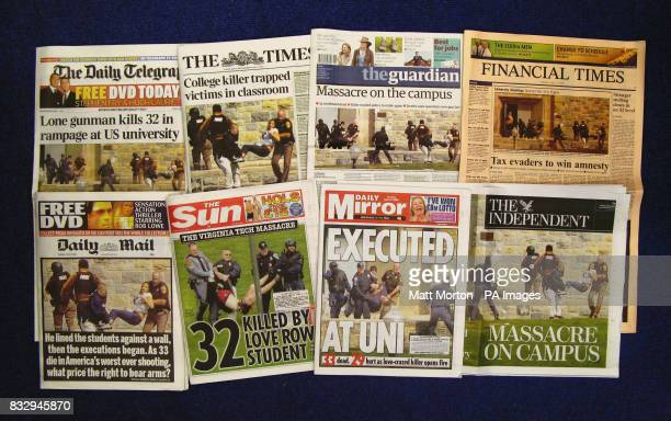 The front pages of National newspapers showing the coverage of the massacre at Virginia Tech University in the US