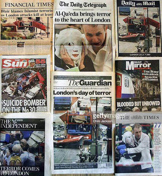 The front pages of the British national newspapers bearing the news of yesterday's bomb attacks are pictured on July 8 2005 in London The terror...