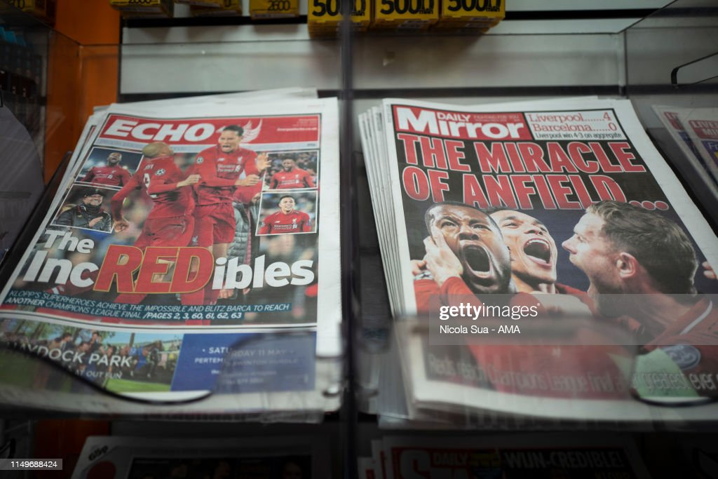 The front pages of the newspapers the Liverpool Echo and