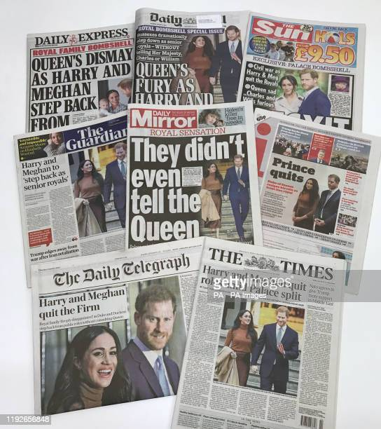 """The front pages of the UK national newspapers in the wake of the announcement that the Duke and Duchess of Sussex will take a step back as """"senior..."""