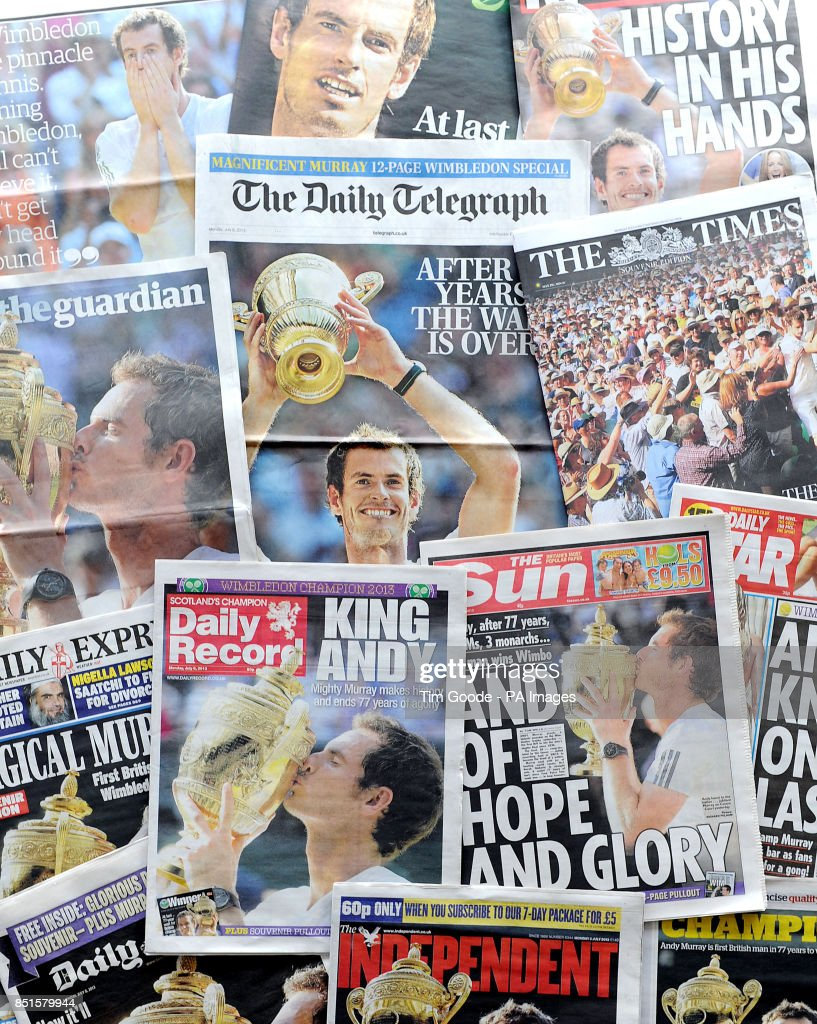 The front pages of the UK's national newspapers as the the nation celebrates Andy Murray claiming the country's first mens wimbledon title in 77 years.