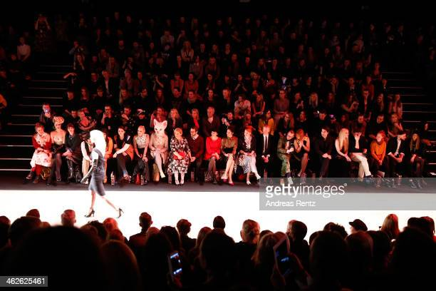 The front row during the Rebekka Ruetz show during Mercedes-Benz Fashion Week Autumn/Winter 2014/15 at Brandenburg Gate on January 14, 2014 in...