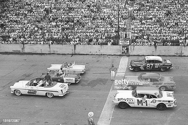 """The front row of drivers gets set for the start of the Southern 500 NASCAR Cup race at Darlington Raceway Glen """"Fireball"""" Roberts has the pole in the..."""