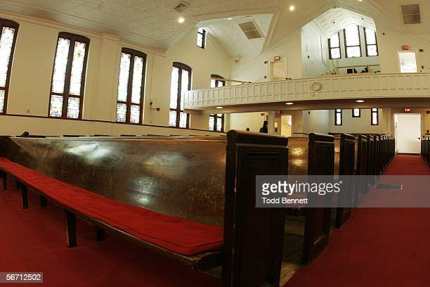 The front row pew of Ebenezer Baptist Church where Coretta Scott King sat during the funeral for her husband Dr Martin Luther King Jr is shown...