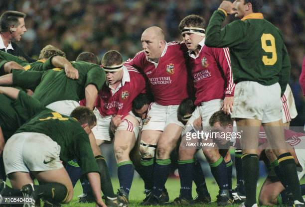 The front rows with South Africa on the left prepare for a scrum during the First Test on the British Lions tour to South Africa at Newlands stadium...