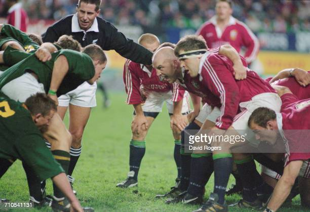 The front rows, with South Africa on the left, prepare for a scrum during the First Test on the British Lions tour to South Africa, at Newlands...
