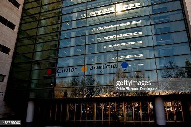 The front side of the City of Justice building reads 'Ciutat Justicia Valencia' on March 27 2015 in Valencia Spain The La Liga match under...