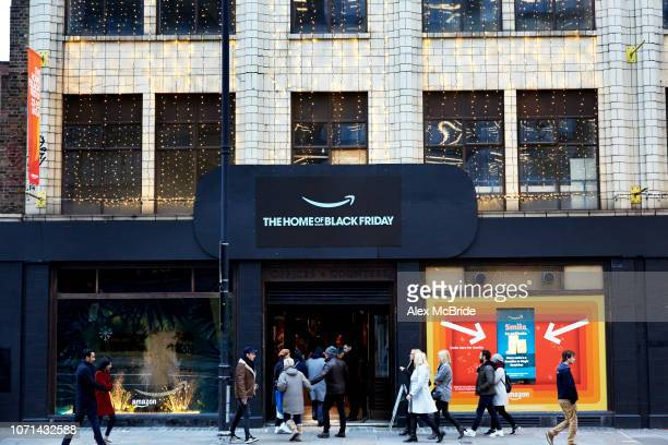 The front view of an Amazon Black Friday popup shop on November 23 2018 in London England Shoppers are looking to find bargains at the start of the...