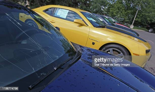 The front window was shattered on a 2007 Corvette at Suburban Chevy where every single car were hail damaged at the Chevy store and nearby...