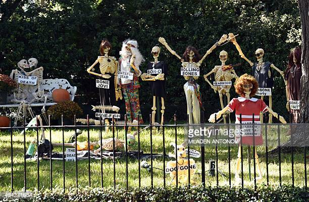 The front yard of a house in the Garden District of New Orleans Louisiana wears special decorations on October 19 2015 as the city prepares to...