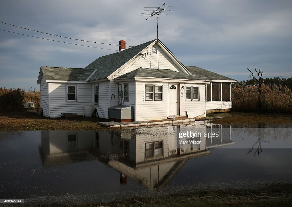 The front yard of a vacant home is flooded from rising ground water October 9, 2014 in Robbins, Maryland. Several islands and property's located at sea level in the lower Chesapeake Bay region are slowly eroding away as sea levels rise. Officials have projected the sea level will rise several feet over the next century leaving many of the Chesapeake bay's lower islands underwater.