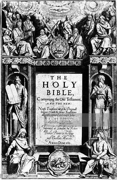 The frontispiece of the King James I Bible.