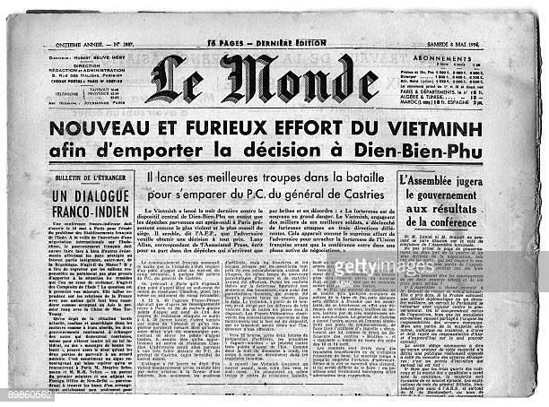"The Frontpage of the french newspapers "" Le Monde"" the 8th May 1954, after Dien Bien Phu 's battle"