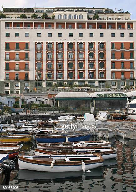 The frontside of the Vesuvio Hotel is pictured on March 07 2008 in Naples The owners of Vesuvio Hotel declared that they are going to close the...
