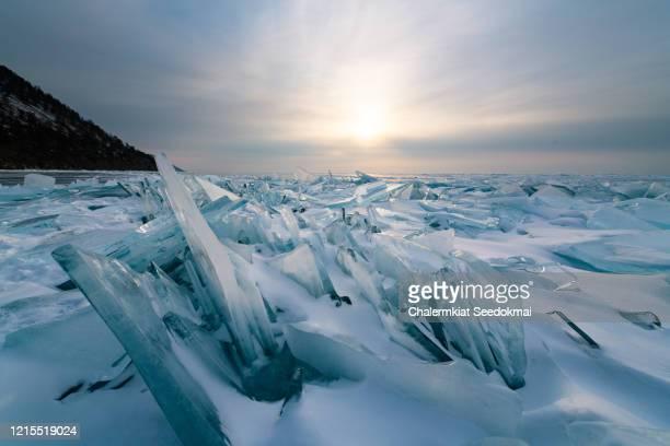 the frozen baikal lake in winter, russia. - russische kultur stock-fotos und bilder
