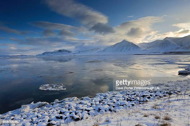 The frozen Borgarfjördur fjord