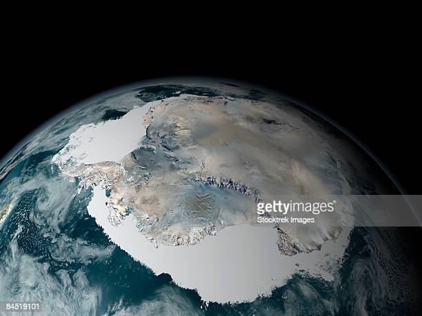 the frozen continent of antarctica and its surrounding sea ice. - permafrost stock pictures, royalty-free photos & images