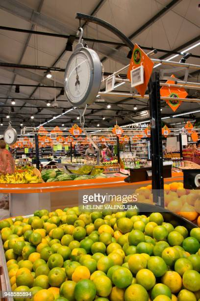 The fruit and vegetable department of an 'O Marche' supermarket is pictured in SaintFrancois on the French overseas territory of Guadeloupe on April...