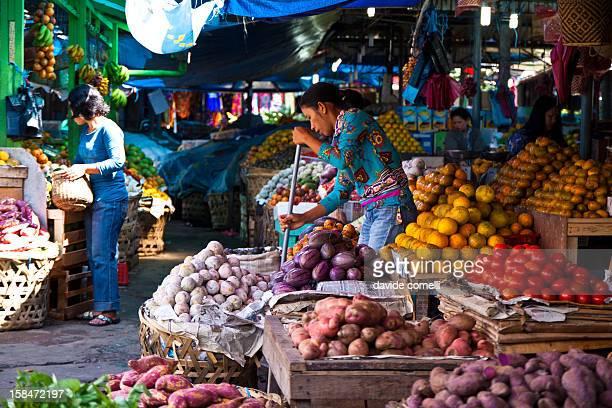 The fruit and vegetables market in Berastagi Sumatra