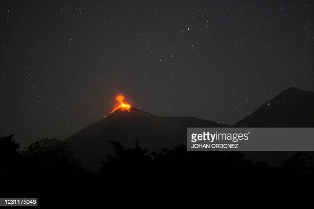 The Fuego volcano, as seen from Alotenango, a municipality in Sacatepequez department 65 km southwest of Guatemala City, erupts on February 14, 2021....