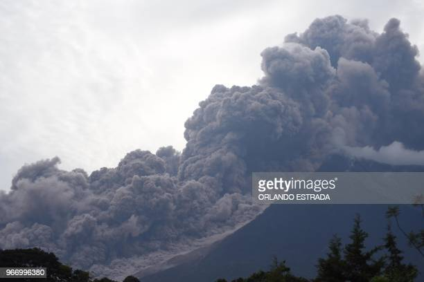 TOPSHOT The Fuego Volcano in eruption seen from Alotenango municipality Sacatepequez department about 65 km southwest of Guatemala City on June 3 2018