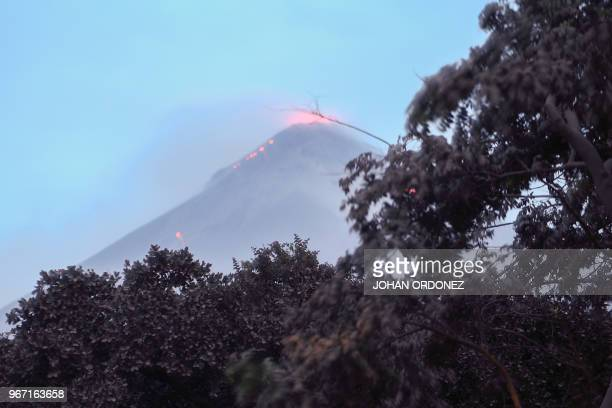 The Fuego Volcano in eruption seen from Los Lotes Rodeo in Escuintla about 35km south of Guatemala City on June 4 2018 Emergency workers will resume...