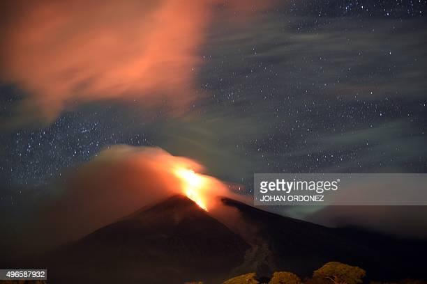 The Fuego volcano seen from San Juan Alotenango municipality Sacatepequez departament about 65 km southwest of Guatemala City erupts on November 10...
