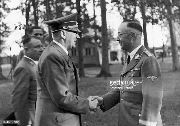 The Fuhrer Adolf Hitler Visiting His Headquarters And Congratulating Heinrich Himmler Head Of The Ss And The Gestapo For His 43Rd Birthday On October...