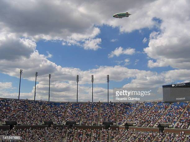 The Fuji blimp passes over Arthur Ashe Stadium during the U.S. Open, 2005