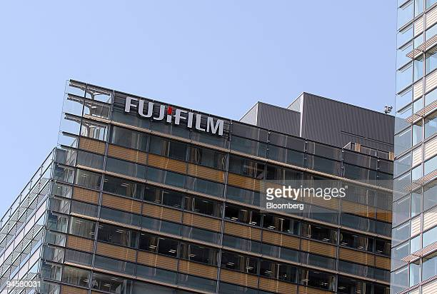 The Fujifilm company logo is seen on the outside of the in the soon-to-open Tokyo Midtown business complex in Tokyo, Japan, on Monday, March 26, 2007.
