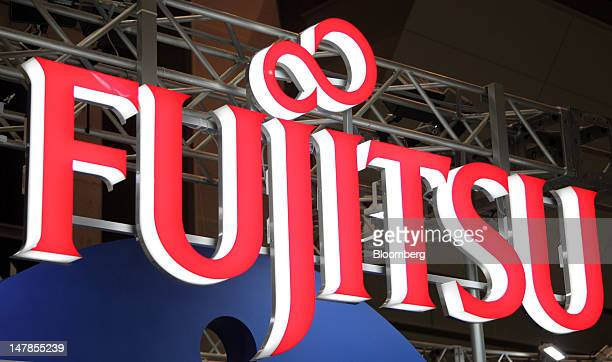 The Fujitsu Ltd logo is displayed at the 16th eBook Expo Tokyo in Tokyo Japan on Thursday July 5 2012 The world largest trade show for ebook devices...