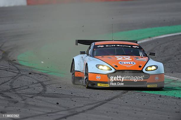 The Fulf AMER Middle East Aston Martin Vantage driven by Fabien Giroix of France, Roald Goethe of Germany, and Michael Wainwright of England during...