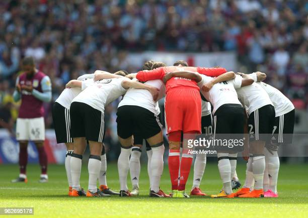 The Fulham team create a huddle prior to the Sky Bet Championship Play Off Final between Aston Villa and Fulham at Wembley Stadium on May 26 2018 in...