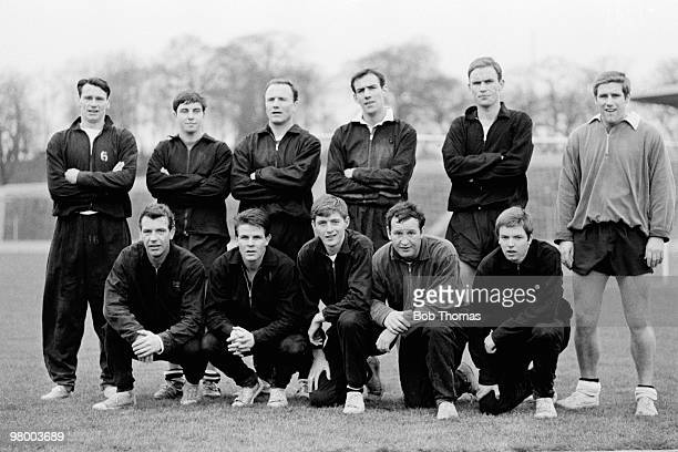 The Fulham team pose for a photograph after training in London 9th February 1967 Back row Bobby Robson Jimmy Conway George Cohen Tony Macedo John...
