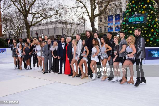 The full cast during a photocall for the new series of Dancing On Ice at Natural History Museum Ice Rink on December 18, 2018 in London, England.