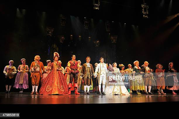 The full cast of 'The Beauty And The Beast' takes a bow onstage during the premiere at Theatre Mogador on March 20 2014 in Paris France